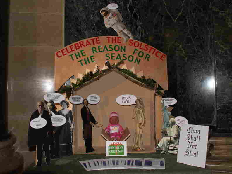 "An ""alternative Nativity scene"" was set up at the Wisconsin State Capitol by the secular, nontheist organization Freedom from Religion Foundation when its request that a traditional creche be removed was not met."