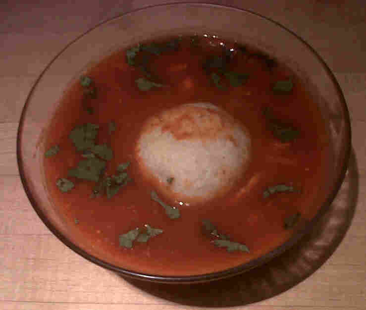 The pozole with matzo balls soup contains hints of chili, tomato and hominy.