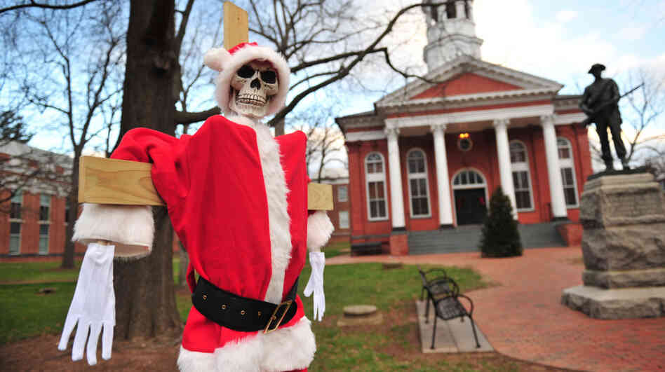 "A skeleton dressed in a Santa Claus costume is part of the holiday displays at the Loudoun County Courthouse in Leesburg, Va. Many local residents are not pleased with the ""Skele-Claus"" or other displays by secular activists and atheists."