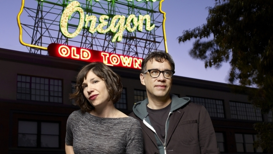 Carrie Brownstein and Fred Armisen film their sketch-comedy show Portlandia in the summer, when Armisen is on hiatus from Saturday Night Live. During the rest of the year, they communicate through constant text messages, says Armisen.  (IFC)