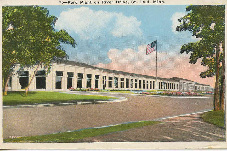 A historic postcard shows what the Twin Cities Assembly Plant in St. Paul, Minn. Looked like decades ago.