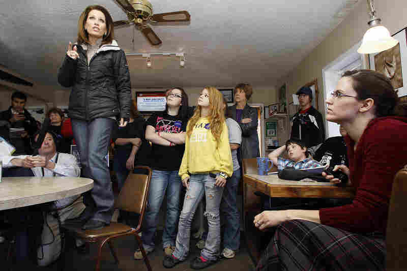 Rep. Michele Bachmann speaks during a campaign stop at King's Crossing Cafe in Mondamin, Iowa, on Dec. 27.