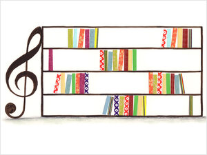 Illustration: A music staff with books on it.