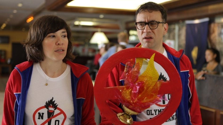 In one episode of Portlandia, Brownstein and Armisen started a grass-roots campaign to prevent the Olympics from ever coming to Portland. (IFC)