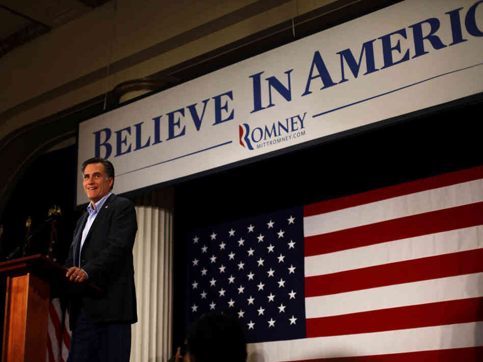 Mitt Romney speaks at the Hotel Blackhawk in Davenport, Iowa, on Tuesday. Republican presidential candidates are making a last push in Iowa ahead of the Jan. 3 caucuses.
