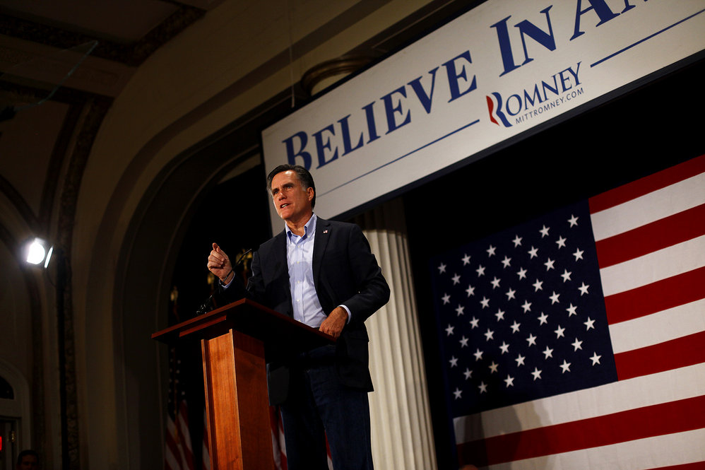 Mitt Romney speaking at the Hotel Blackhawk in Davenport, Iowa on Dec.27.