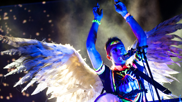 Sufjan Stevens performing at the bandshell at Celebrate Brooklyn in Prospect Park on August 3, 2011. (Ryan Muir)
