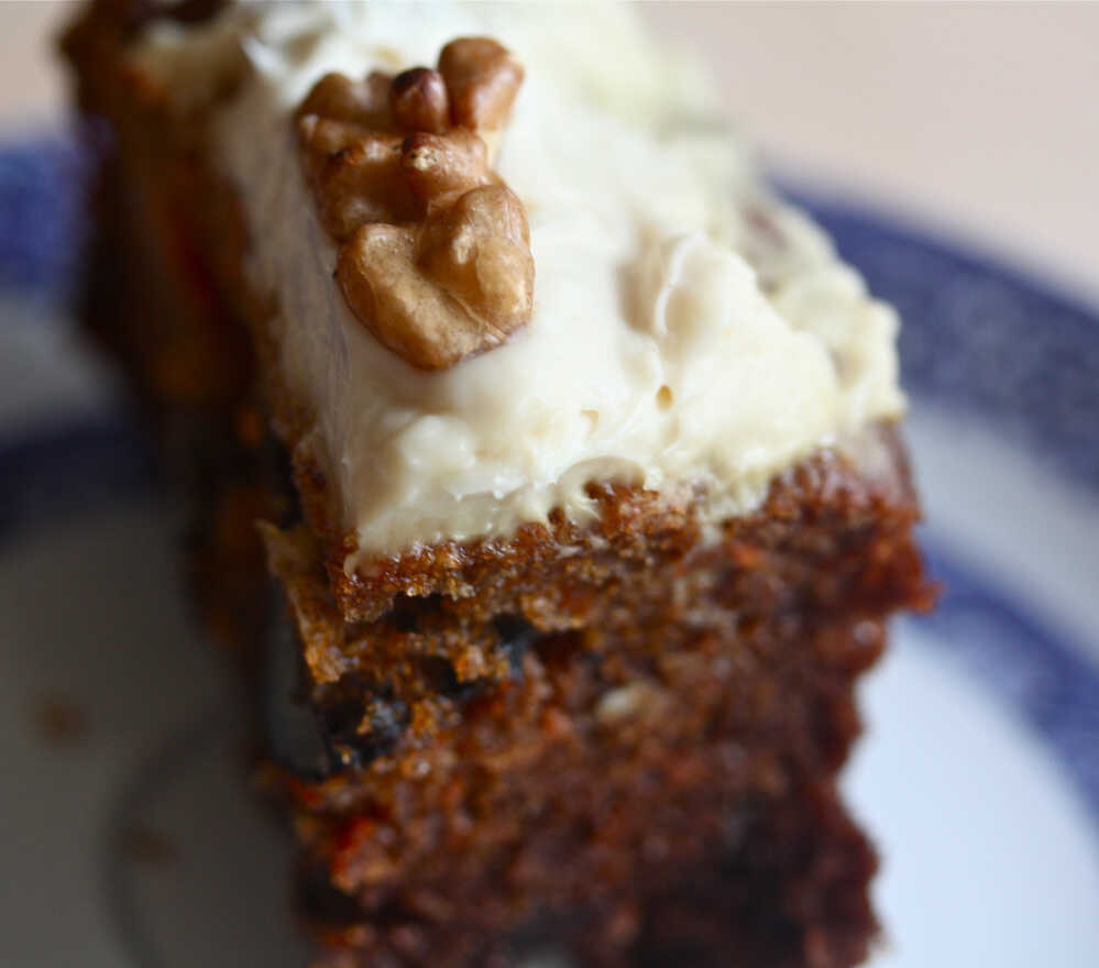 Carrot Cake With Maple Syrup Frosting And Toasted Walnuts