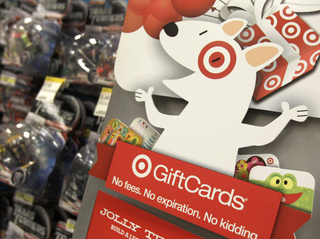A gift card display at a Target store in Mayfield Hts., Ohio., last month.