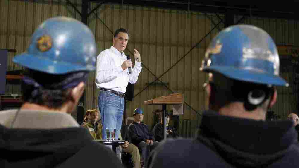 Mitt Romney speaks Dec. 16 at Missouri Valley Steel in Sioux City, Iowa.
