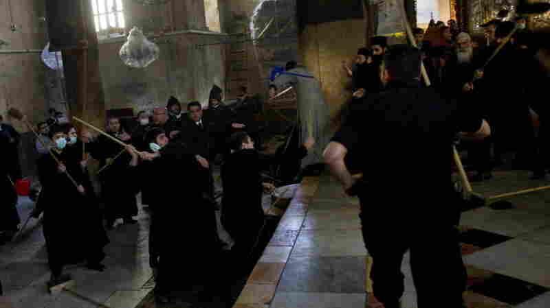 Armenian and Greek Orthodox clergymen scuffled inside Bethlehem's Church of Nativity today.