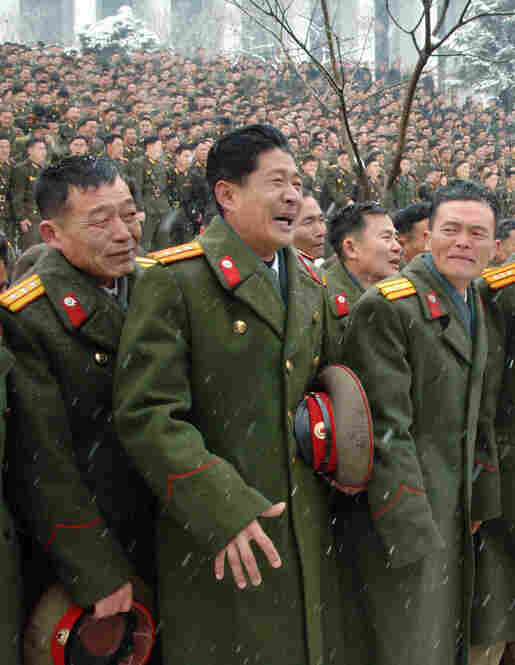 North Korean soldiers react during their late leader Kim Jong Il's funeral procession in Pyongyang on Dec. 28.