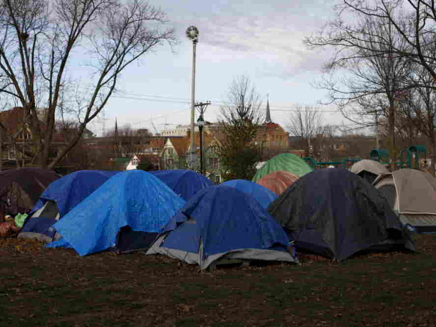 An Occupy camp at College Green Park in Iowa City, Iowa. The camp was mostly empty aside from three men.
