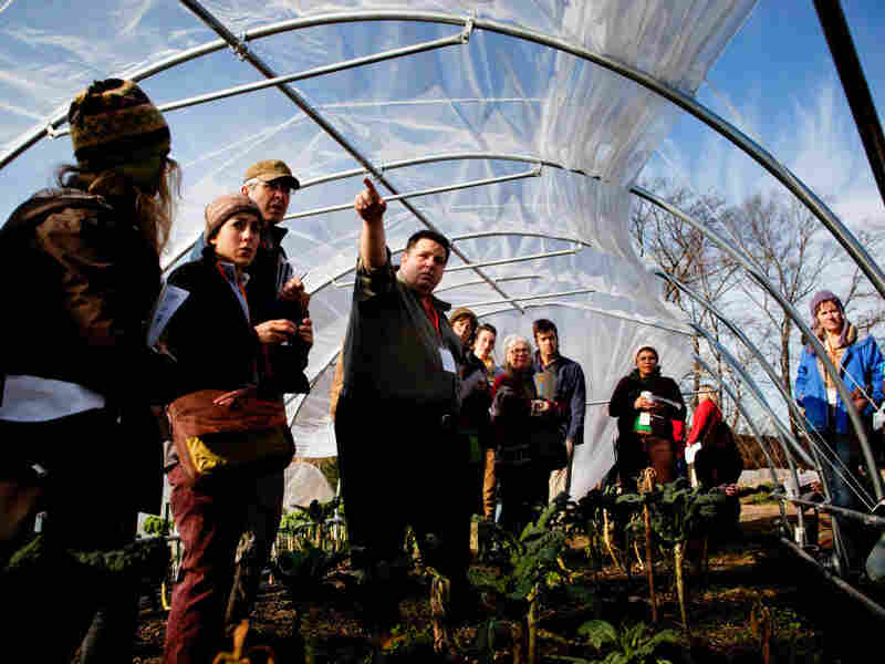 Adam Lemieuy, from Johnny's Selected Seeds, leads a caterpillar tunnel workshop at the 2011 Young Farmers conference at Stone Barns Center for Food and Agriculture in Tarrytown, NY.