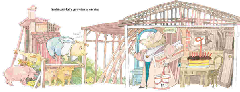 In the book, Sendak changed the story. Bumble-Ardy is now an orphaned pig who has his first birthday party when he turns 9.