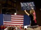 "Ron Paul spoke to a packed house at the Knapp Learning Center during his ""Salute to the Military"" event in Des Moines, Iowa, on Wednesday."