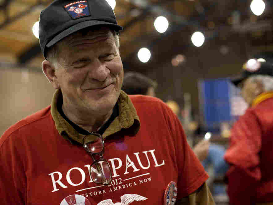 "Retired Air Force Capt. Eric Grote attends a ""Salute to the Military"" event in Des Moines, Iowa, where Ron Paul spoke."