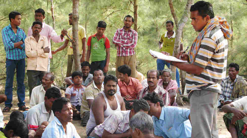 Villagers in the southeastern Indian state of Orissa are opposed to a large steel mill, though it would bring thousands of jobs. The villagers, shown here in October, say they want to keep their land and their lifestyle. Such conflicts have become more common as India's economy expands.