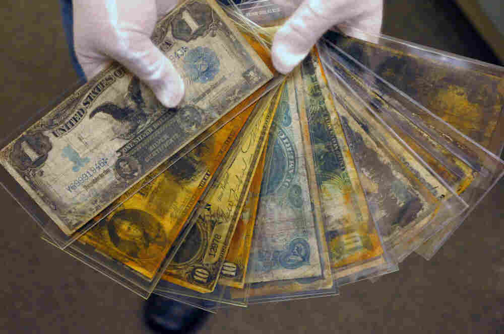 Currency is among the artifacts salvaged from the wreck of the Titanic.