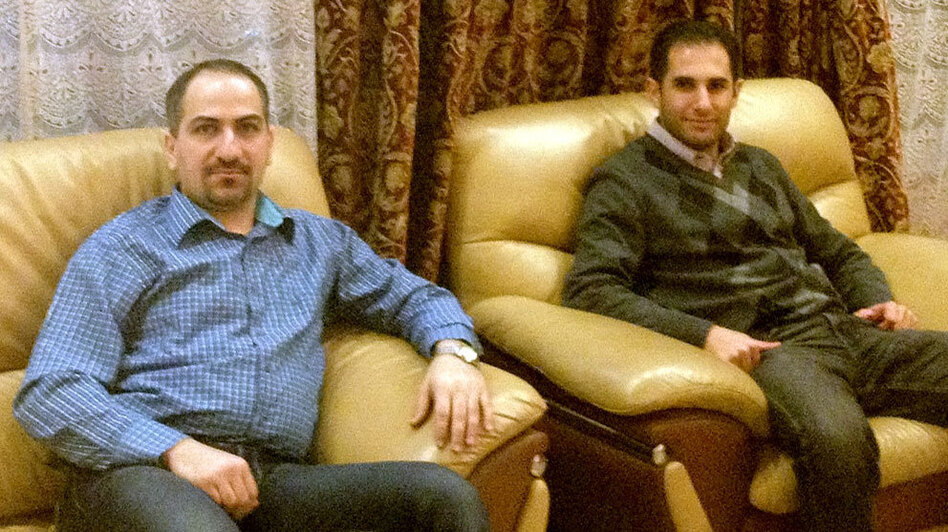 Sayf al-Tabaqchali (left) and his best friend, Yaser al-Hadithi, are repeating their medical residencies in the U.S. after leaving Baghdad. (Courtesy of Yaser al-Hadithi)