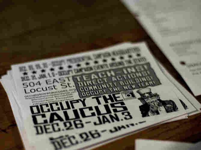 Flyers at an Occupy movement event Thursday in Des Moines, Iowa.