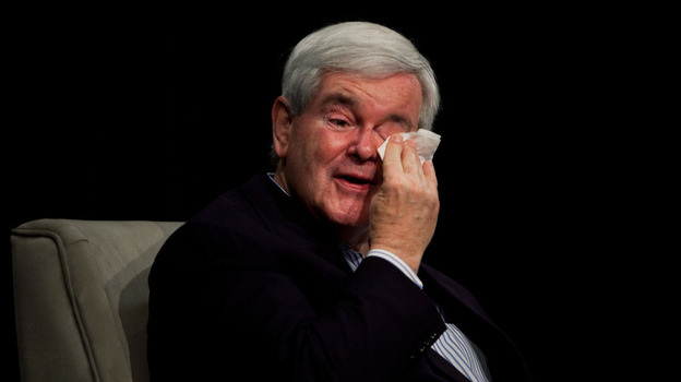 Newt Gingrich wipes away a tear while speaking about his deceased mother Friday in Des Moines, Iowa. (Getty Images)
