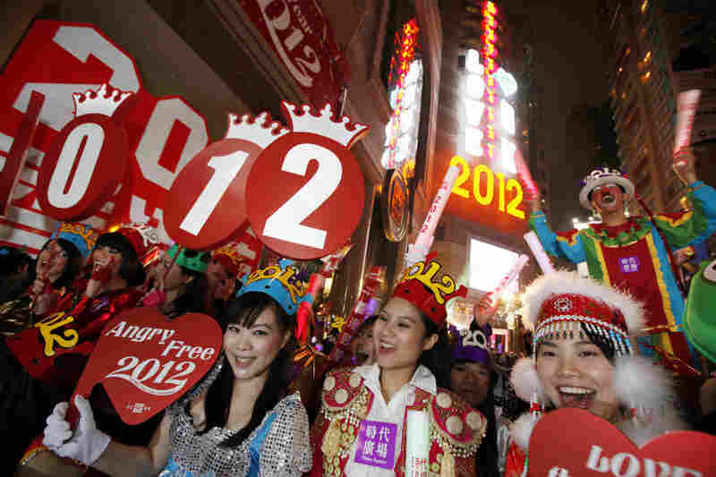 Revelers celebrate in Hong Kong's Times Square Sunday.