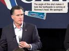 A screenshot of Mitt Romney's Iowa stump speech, with a Pop-Up Politics bubble animated in.