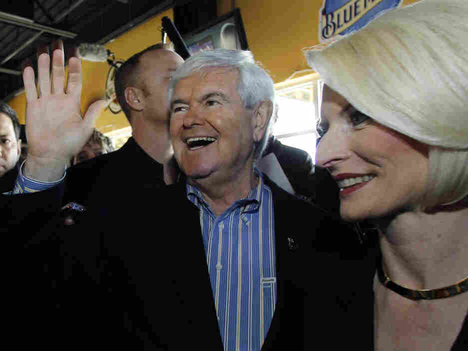 Former House speaker Newt Gingrich and wife, Callista, c