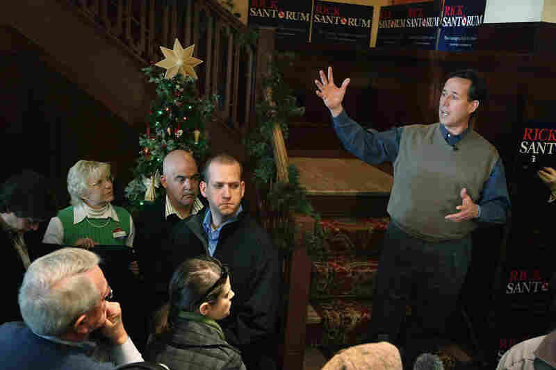 Rick Santorum speaks during a campaign rally in Perry, Iowa.