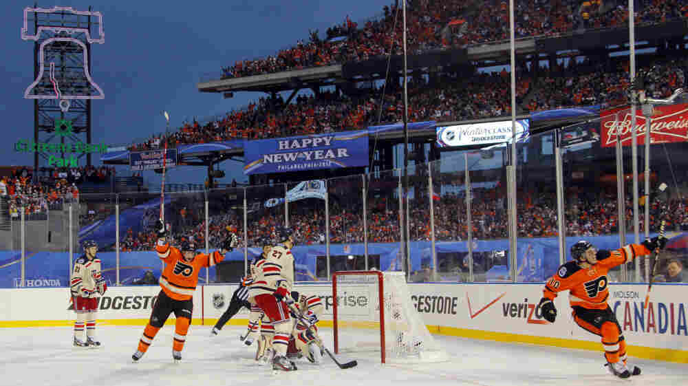 Playing on an ice rink installed at the Phillies' baseball stadium, the Philadelphia Flyers lost to the New York Rangers in the NHL's Winter Classic hockey game Monday. The Flyers went ahead early, but lost, 3-2.
