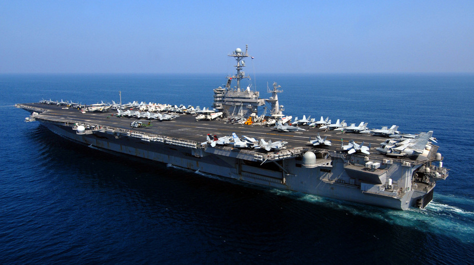 Iran claims the USS John C. Stennis has entered a zone near the Strait of Hormuz, which is being used by the Iranian navy for wargames. (AFP/Getty Images)