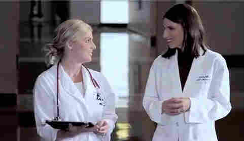 A screen grab of a video ad for Vanderbilt University Medical Center features Dr. Mia Levy (right), an oncologist.
