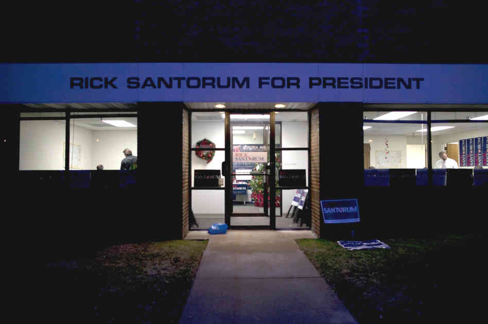 Rick Santorum's campaign is headquartered in the same business complex as Gingrich, Bachmann and Santorum's in the suburbs of Des Moines.