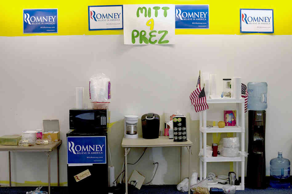 Romney's campaign is headquartered in a former Blockbuster near downtown Des Moines.