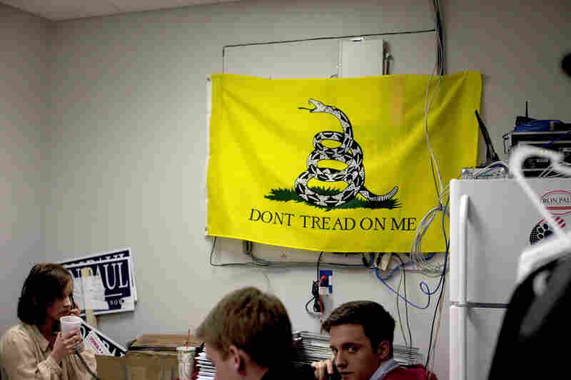 I was quickly ushered out of this back room of Ron Paul's headquarters in Ankeny.