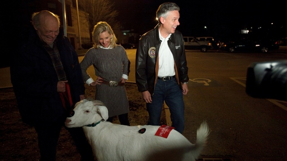 Huntsman may refuse to be the 'goat' of the GOP race, but he and his wife, Mary Kaye, did meet one named Izak and his owner, Bill Higgins, on Monday night outside the McConnell Community Center in Dover, N.H. (NPR)