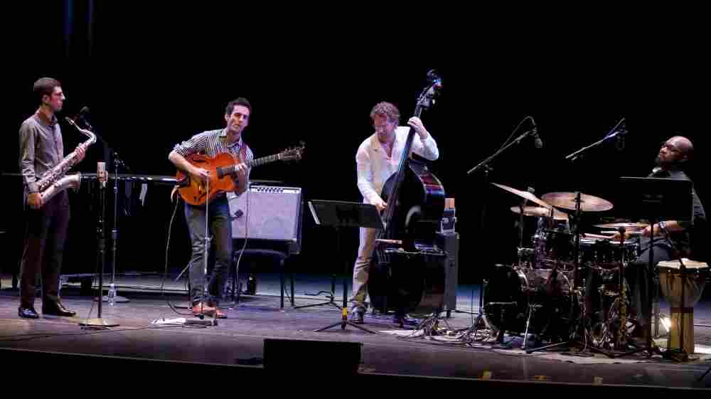 L-R: Dan Blake, Julian Lage, Larry Grenadier, Eric Harland perform on Toast of the Nation.