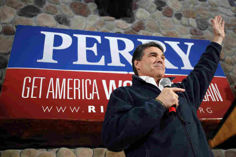 Texas Gov. Rick Perry speaks during a campaign stop at the Stoney Creek Inn, Monday, in Sioux City, Iowa.