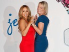 Jenny Craig brand ambassador and singer Mariah Carey (left) poses with Dana Fiser, CEO of Jenny Craig, at a press conference in New York City in November.