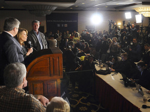 Rep. Michele Bachmann, R-Minn., announces an end to her campaign for president on Wednesday in Des Moines, Iowa.
