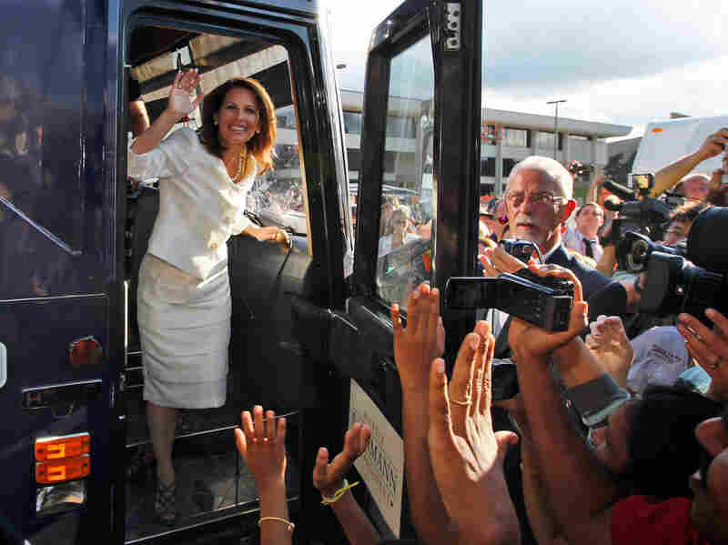 Republican presidential candidate Rep. Michele Bachmann steps from her campaign bus to greet supporters after winning the Iowa Republican Party's Straw Poll in Ames, Iowa, on Aug. 13.