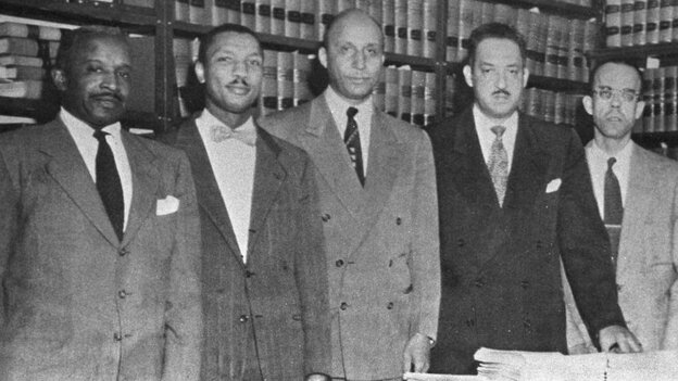 Robert Carter (second from left) and other attorneys with the NAACP Legal Defense and Educational Fund in 1954. Others (from left to right): Louis L. Redding, Oliver W. Hill, Thurgood Marshall and Spottswood W. Robinson III.
