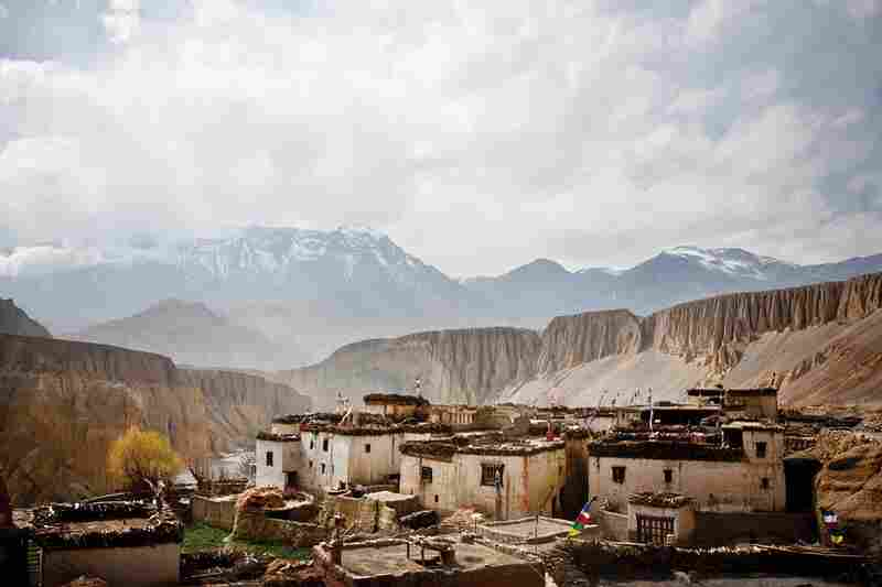 The village of Tangge stands on the edge of a Kali Gandaki tributary. Buildings are packed tightly together to help protect the residents from the strong winds that pick up each afternoon.