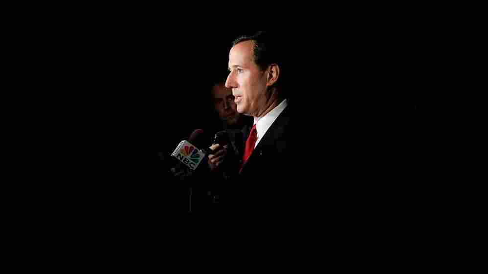 Then-Sen. Rick Santorum is interviewed after a debate with his Democratic challenger, Bob Casey, in 2006. Santorum later lost the Senate seat to Casey.