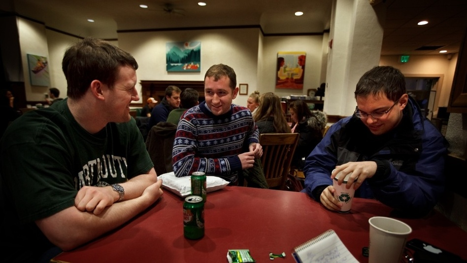 Editors of the conservative Dartmouth Review, from left to right: Sterling Beard, 22, from Abilene, Texas, the Review's editor-in-chief; Benjamin Riley, 20, from New York City; Blake Neff, 21, from Sioux Falls, S.D. (NPR)