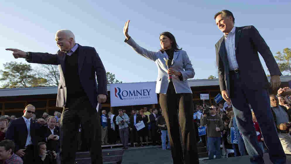 Mitt Romney, right, campaigns Thursday in South Carolina with South Carolina Gov. Nikki Haley, center, and Sen. John McCain, R-Ariz.