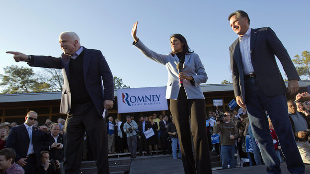 Mitt Romney, right, campaigns Thursday in South Carolina with South Carolina Gov. Nikki Haley