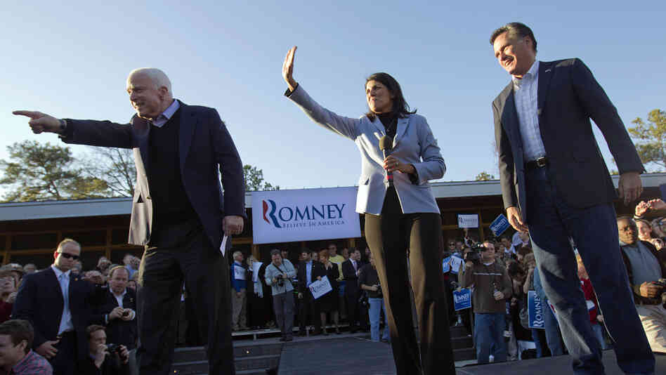Mitt Romney, right, campaigns Thursday in South Carolina with South Carolina Gov. Nikki Haley, center, and Sen. John McCain, R-Ariz.