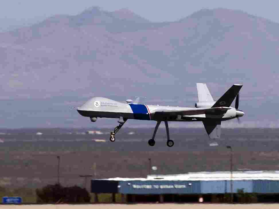A Predator B unmanned aircraft takes off in Arizona. The aircraft patrol the southern border of the United Sates.